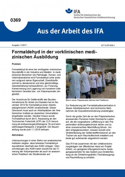 Formaldehyd in der vorklinischen medizinischen Ausbildung (Aus der Arbeit des IFA Nr. 0369)