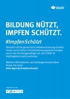 """Plakat #ImpfenSchützt """"Bildung nützt, Impfen schützt."""" (DGUV)"""