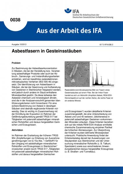 Asbestfasern in Gesteinsstäuben. Aus der Arbeit des IFA Nr. 0038