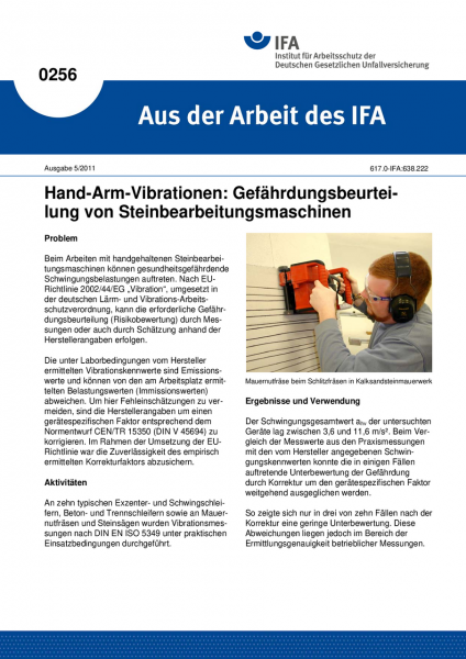 Hand-Arm-Vibrationen: Gefährdungsbeurteilung von Steinbearbeitungsmaschinen. Aus der Arbeit des IFA