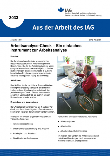Arbeitsanalyse-Check - Ein einfaches Instrument zur Arbeitsanalyse. Aus der Arbeit des IAG Nr. 3033