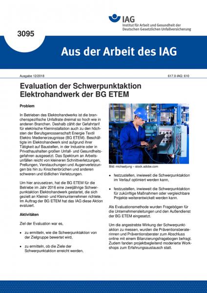 Evaluation der Schwerpunktaktion Elektrohandwerk der BG ETEM (Aus der Arbeit des IAG Nr. 3095)