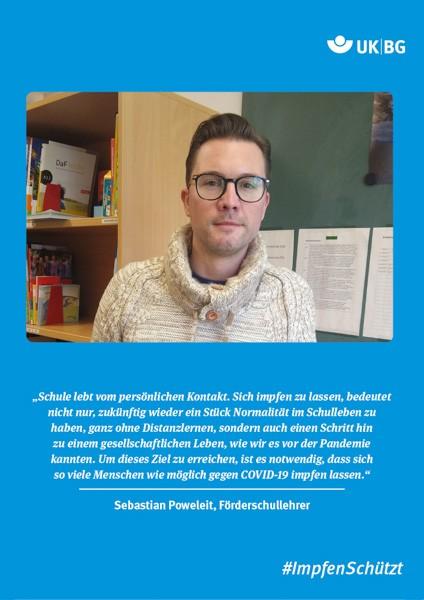 "Plakat #ImpfenSchützt, Motiv ""Sebastian Poweleit"" (UK|BG) Hochformat"