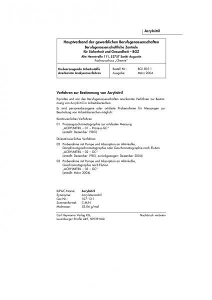 Verfahren zur Bestimmung von Acrylnitril