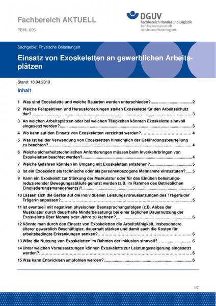 """FBHL-006 """"Einsatz von Exoskeletten an gewerblichen Arbeitsplätzen"""""""