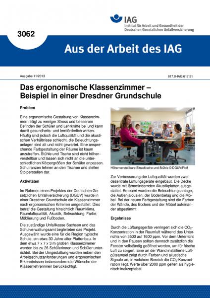 Das ergonomische Klassenzimmer – Beispiel in einer Dresdner Grundschule (Aus der Arbeit des IAG Nr.