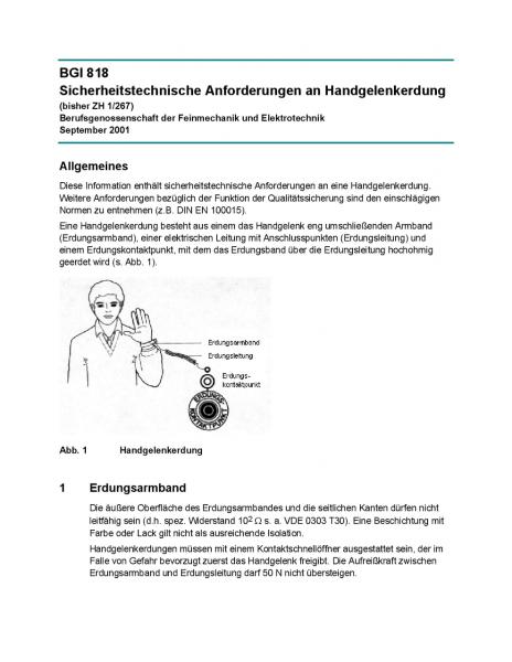 Sicherheitstechnische Anforderungen an Handgelenkerdung