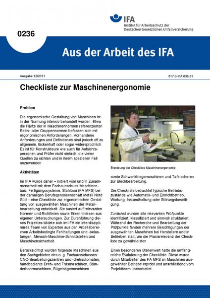Checkliste zur Maschinenergonomie. Aus der Arbeit des IFA Nr. 0236