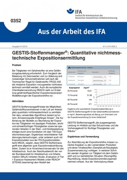 GESTIS-Stoffenmanager: Quantitative nichtmesstechnische Ermittlung der inhalativen Exposition (Aus d