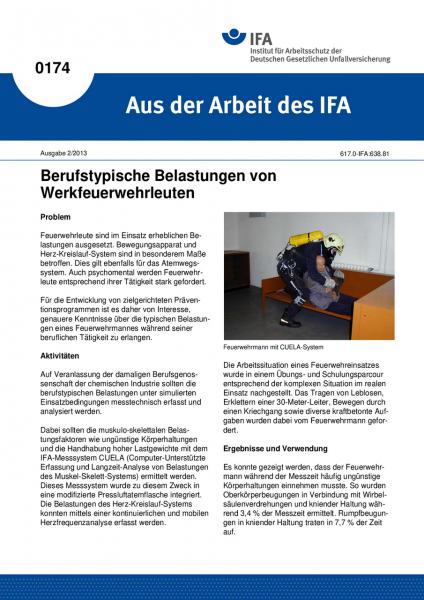 Berufstypische Belastungen von Werkfeuerwehrleuten. Aus der Arbeit des IFA Nr. 0174