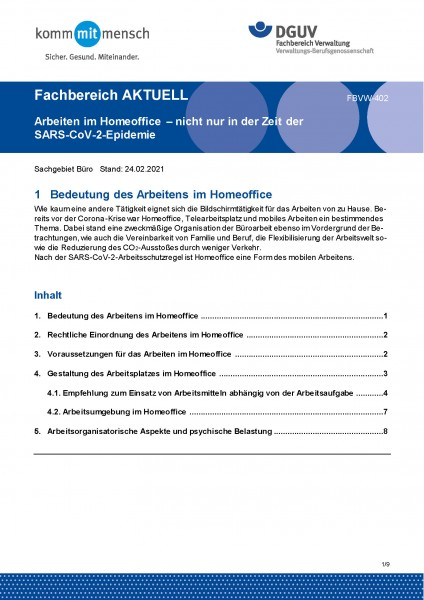 """FBVW-402 """"Arbeiten im Homeoffice - nicht nur in der Zeit der SARS-CoV-2-Epidemie"""""""