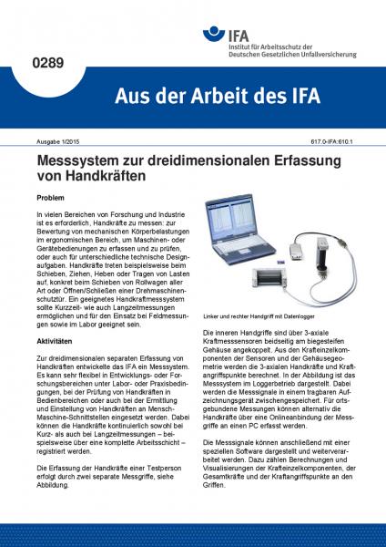Messsystem zur dreidimensionalen Erfassung von Handkräften. Aus der Arbeit des IFA Nr. 0289