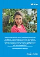 "Plakat #ImpfenSchützt, Motiv ""Sabrina Romanowski"" (UK|BG) Hochformat"