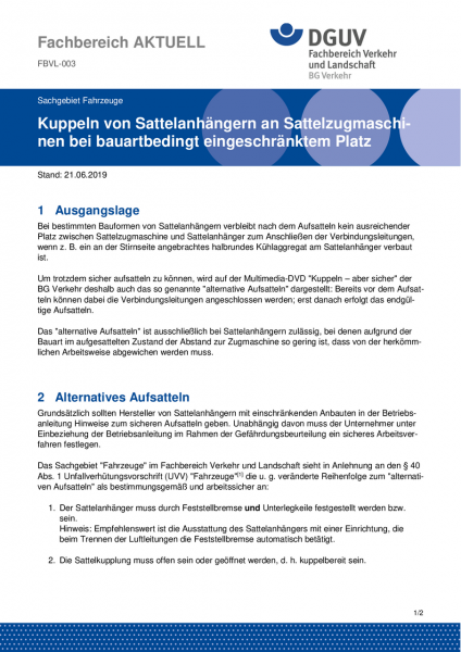 "FBVL-003 ""Kuppeln von Sattelanhängern an Sattelzugmaschinen bei bauartbedingt eingeschränktem Platz"""