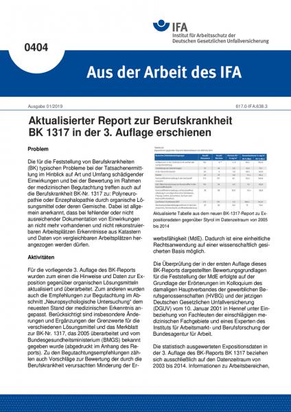 Aktualisierter Report zur Berufskrankheit BK 1317 in der 3. Auflage erschienen (Aus der Arbeit des I