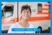 """Motiv #ImpfenSchützt, """"Eva Handschuh"""" (DGUV und BG Kliniken)"""