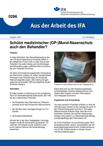 Schützt medizinischer (OP-)Mund-Nasenschutz auch den Behandler? Aus der Arbeit des IFA Nr. 0296