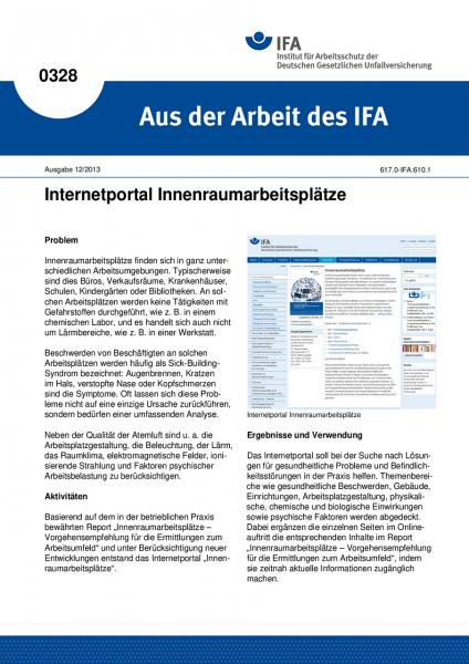 Internetportal Innenraumarbeitsplätze. Aus der Arbeit des IFA Nr. 0328