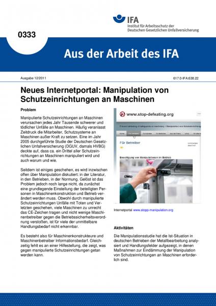 Neues Internetportal: Manipulation von Schutzeinrichtungen an Maschinen. Aus der Arbeit des IFA Nr.