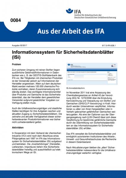 ISi - Informationssystem für Sicherheitsdatenblätter. Aus der Arbeit des IFA Nr. 0084