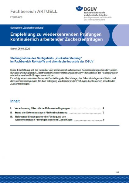 """FBRCI-006 """"Empfehlung zu wiederkehrenden Prüfungen kontinuierlich arbeitender Zuckerzentrifugen"""""""