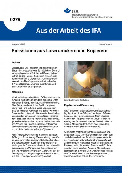 Emissionen aus Laserdruckern und Kopierern. Aus der Arbeit des IFA Nr. 0276