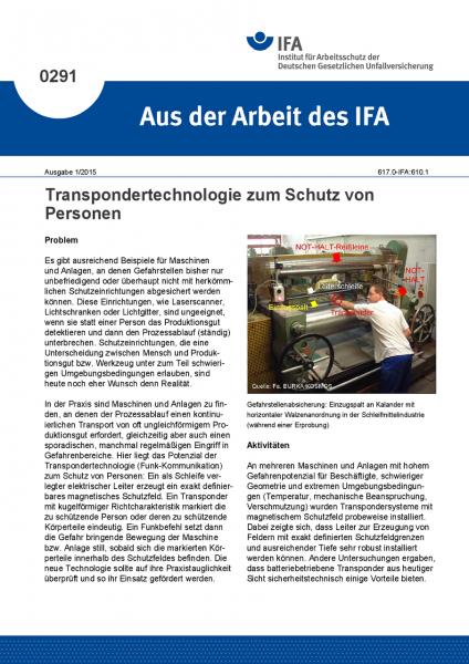 Transpondertechnologie zum Schutz von Personen. Aus der Arbeit des IFA Nr. 0291