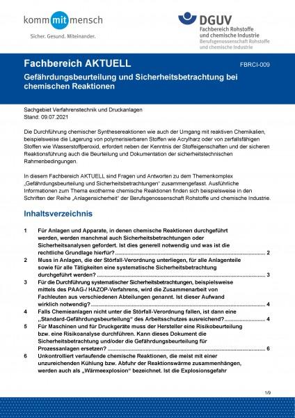 """FBRCI-009 """"Gefährdungsbeurteilung und Sicherheitsbetrachtung bei chemischen Reaktionen"""""""