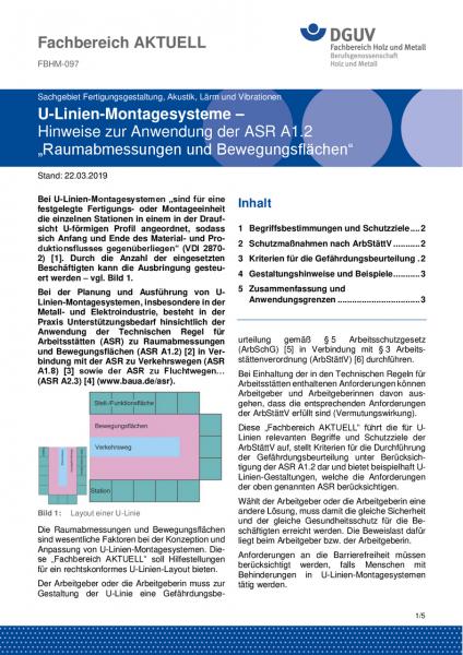 """FBHM-097 U-Linien-Montagesysteme – Hinweise zur Anwendung der ASR A1.2 """"Raumabmessungen und Bewegung"""