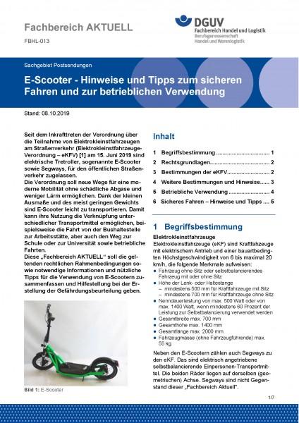 """FBHL-013 """"E-Scooter - Hinweise und Tipps zum sicheren Fahren und zur betrieblichen Verwendung"""""""