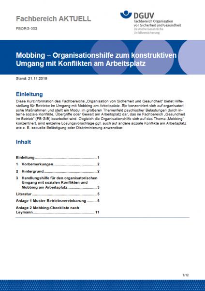 """FBORG-003 """"Mobbing – Organisationshilfe zum konstruktiven Umgang mit Konflikten am Arbeitsplatz"""""""