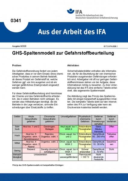 GHS-Spaltenmodell zur Gefahrstoffbeurteilung (Aus der Arbeit des IFA Nr. 0341)