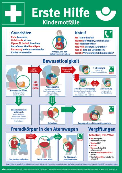 Erste Hilfe Kindernotfälle (Plakat, DIN A3)