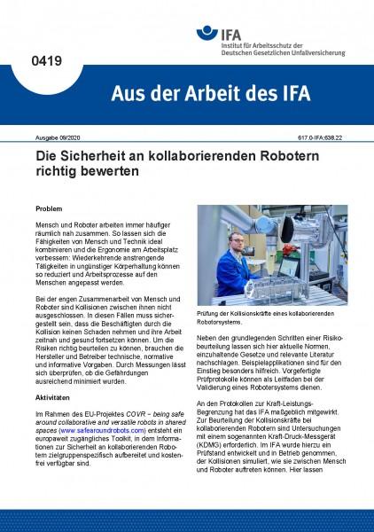 Die Sicherheit an kollaborierenden Robotern richtig bewerten (Aus der Arbeit des IFA Nr. 0419)