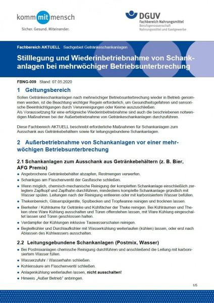 """FBNG-009 """"Stilllegung und Wiederinbetriebnahme von Schankanlagen bei mehrwöchiger Betriebsunterbrech"""