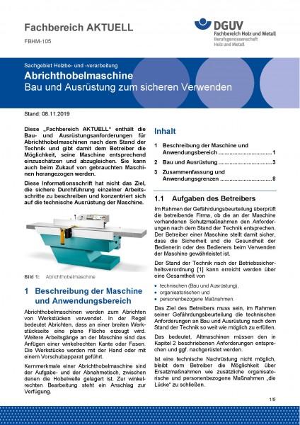 """FBHM-105 """"Abrichthobelmaschine - Bau und Ausrüstung zum sicheren Verwenden"""""""