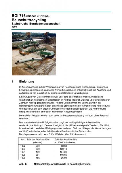 Bauschuttrecycling - Sicherheit und Gesundheitsschutz