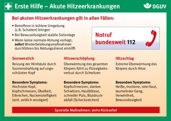 Erste Hilfe Karte: Akute Hitzeerkrankungen