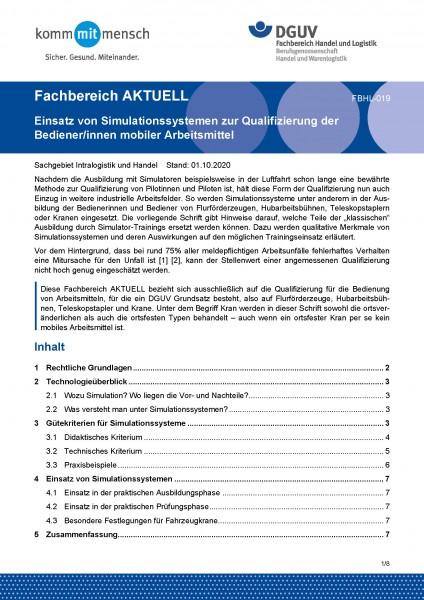 """FBHL-019 """"Einsatz von Simulationssystemen zur Qualifizierung der Bediener/innen mobiler Arbeitsmitte"""