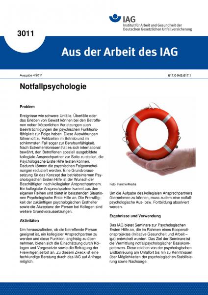 Notfallpsychologie. Aus der Arbeit des IAG Nr. 3011