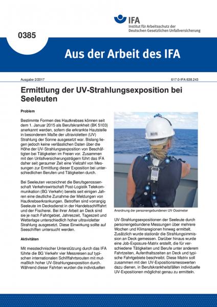 """Ermittlung der UV-Strahlungsexposition bei Seeleuten (""""Aus der Arbeit des IFA"""" Nr. 0385)"""