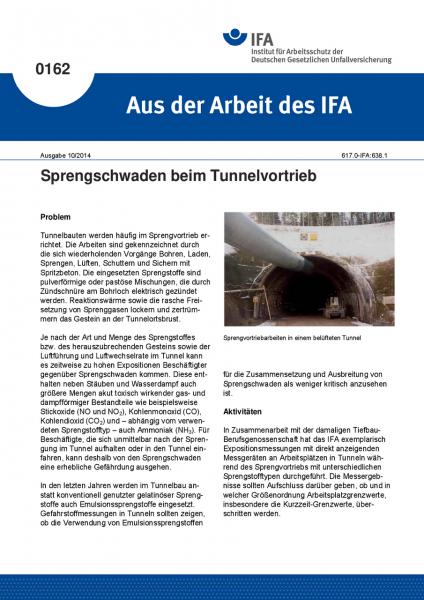 Sprengschwaden beim Tunnelvortrieb. Aus der Arbeit des IFA Nr. 0162