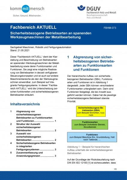 """FBHM-073 """"Sicherheitsbezogene Betriebsarten an spanenden Werkzeugmaschinen der Metallbearbeitung"""""""