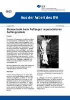 Biomechanik beim Auffangen im persönlichen Auffangsystem. Aus der Arbeit des IFA Nr. 0023