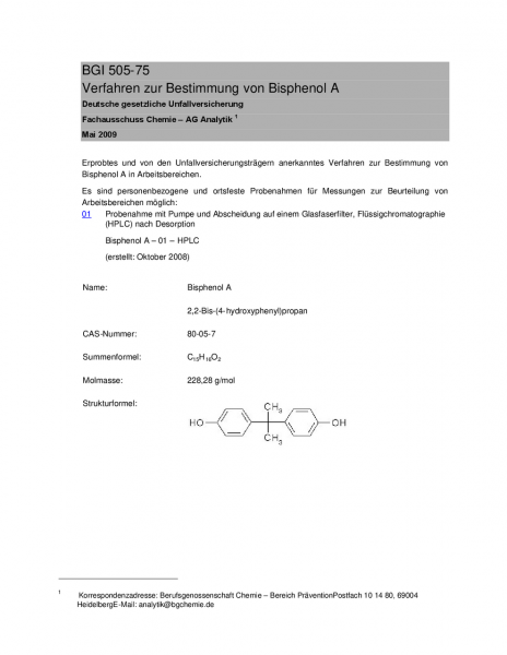 Verfahren zur Bestimmung von Bisphenol A