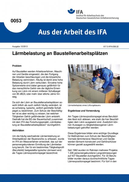 Lärmbelastung an Baustellenarbeitsplätzen. Aus der Arbeit des IFA Nr. 0053