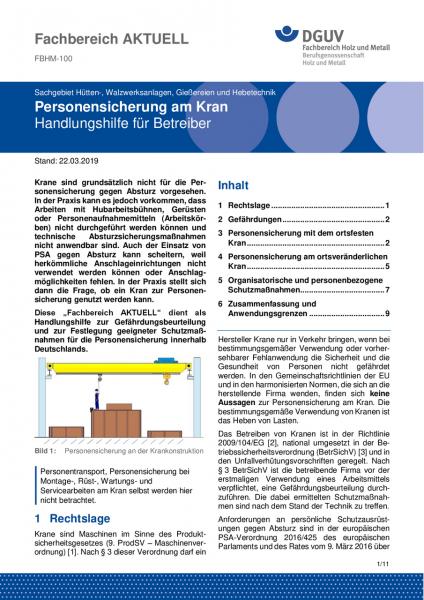 """FBHM-100 """"Personensicherung am Kran – Handlungshilfe für Betreiber"""""""