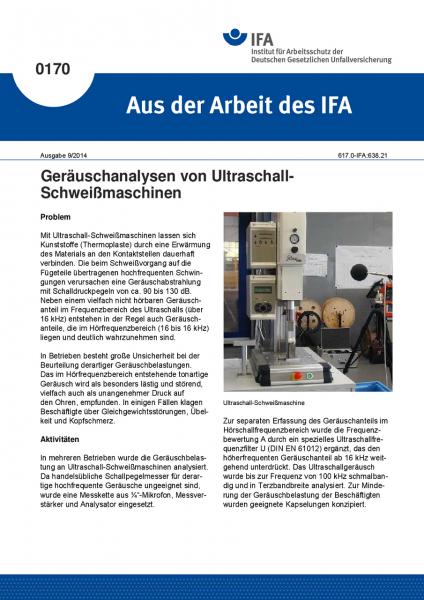 Geräuschanalysen von Ultraschall-Schweißmaschinen. Aus der Arbeit des IFA Nr. 0170