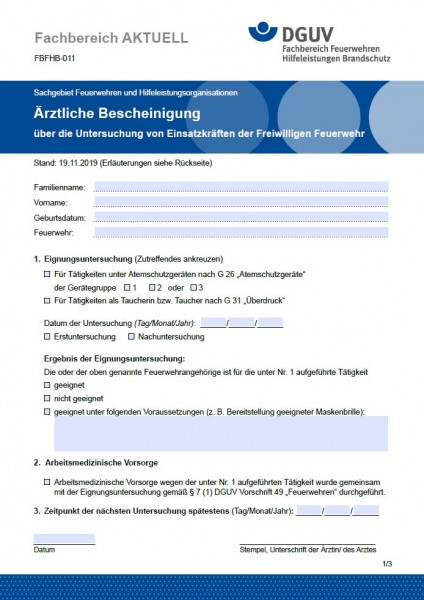 """FBFHB-011 """"Ärztliche Bescheinigung - über die Untersuchung von Einsatzkräften der Freiwilligen Feuer"""