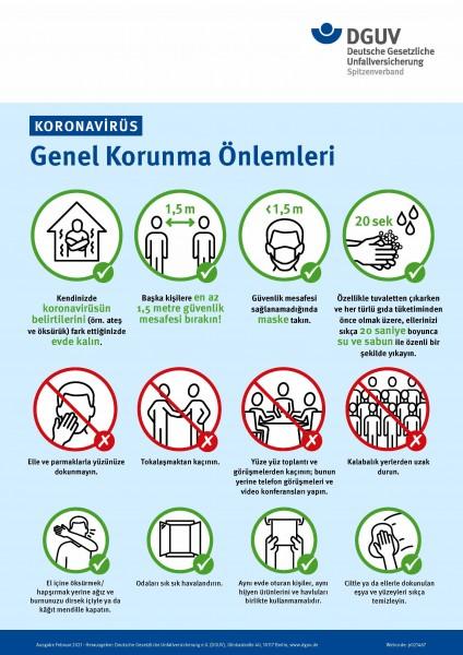 """Koronavirüs - Genel Korunma Önlemleri (Plakat """"Coronavirus - Allgemeine Schutzmaßnahmen"""" in türkisch"""